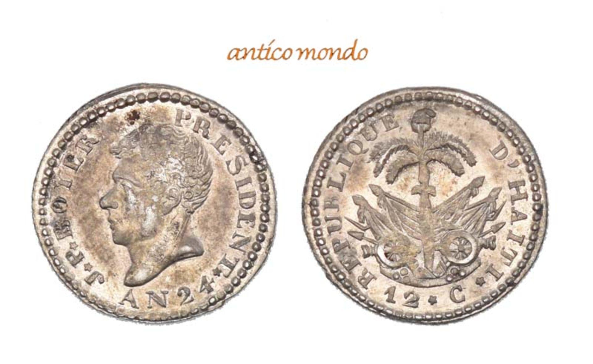 Haiti, Republik, 12 Centimes, An 24 (1827), vorzüglich-Stempelglanz, 1,41 g- - -21.50 % buyer's