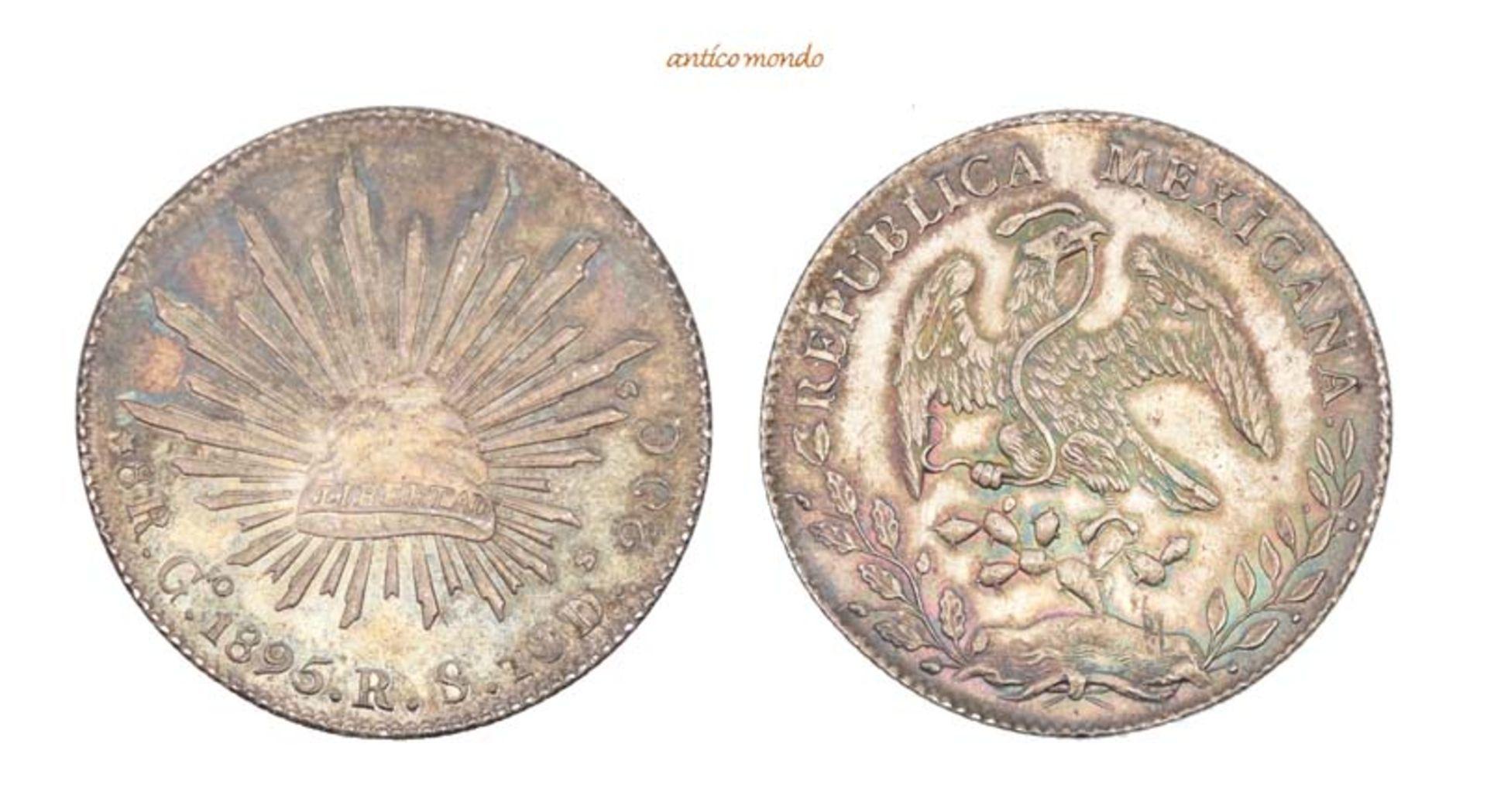 Mexiko, Republik, 8 Reales, 1895, hübsche Patina, vorzüglich +, 27,19 g- - -21.50 % buyer's