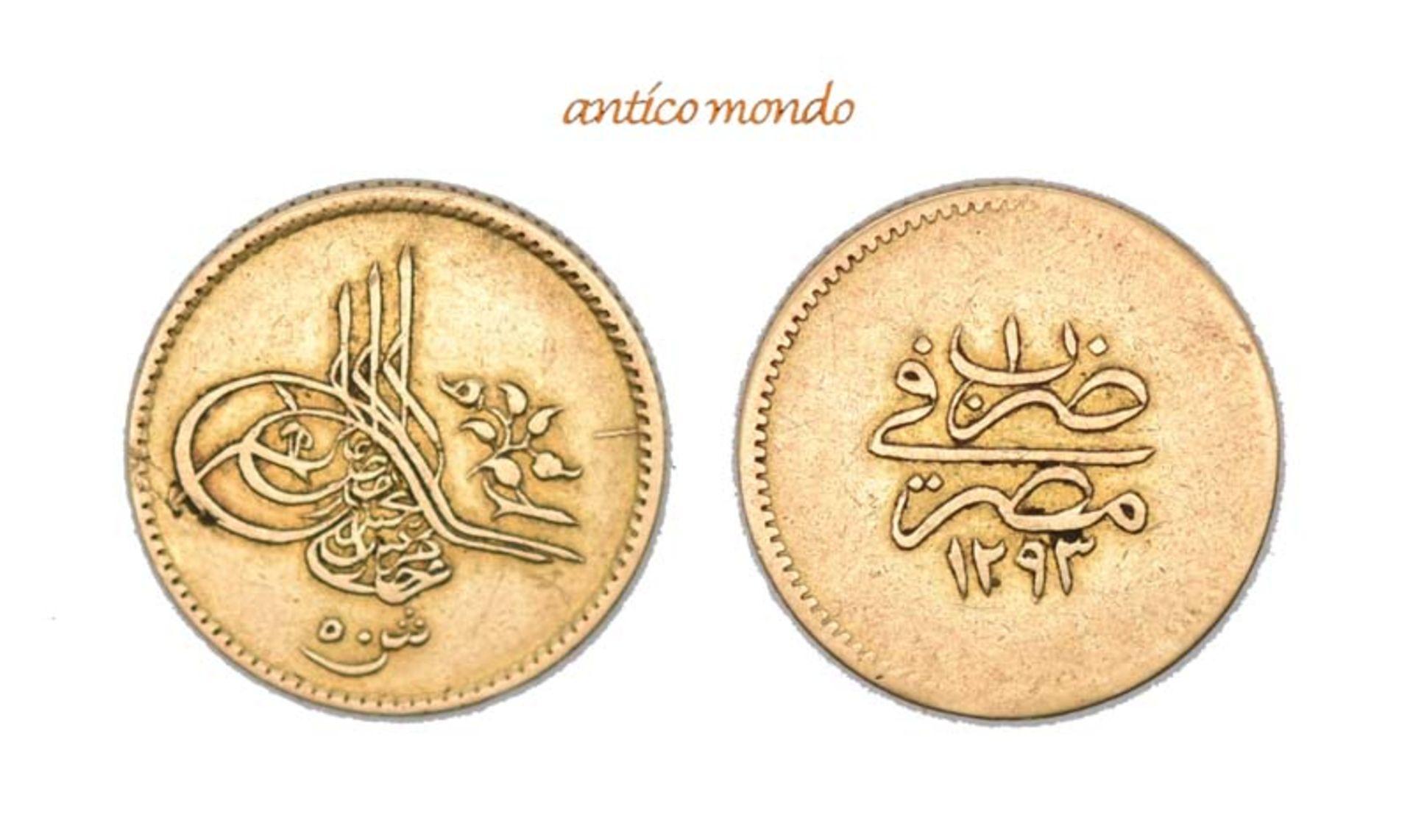 Ägypten, Abdul Hamid II., 1876-1909, 5 Piaster, 1876 (1293 AH), sehr schön, 4,21 g- - -21.50 %