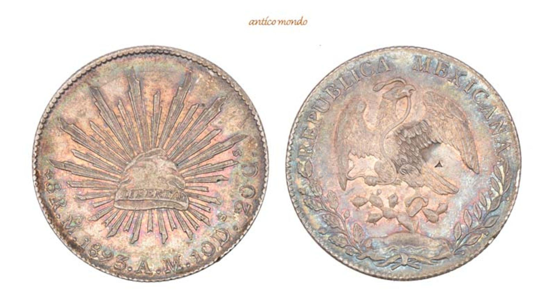 Mexiko, Republik, 8 Reales, 1893, hübsche Patina, winz. Punze, vorzüglich, 27,00 g- - -21.50 %