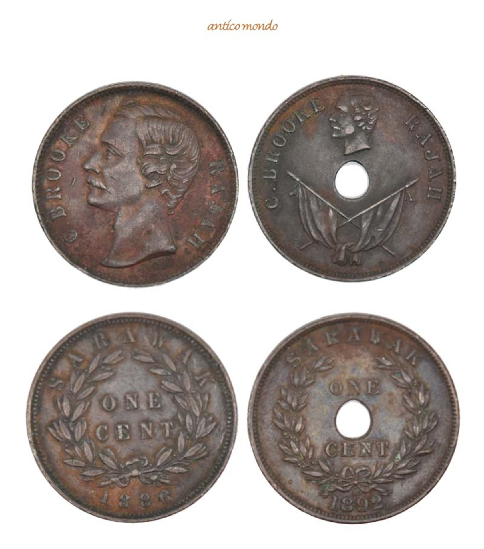 Malaysia, Sarawak, Brooke, 1868-1917, Cent, 1886,1892, sehr schön, 2 Stück- - -21.50 % buyer's