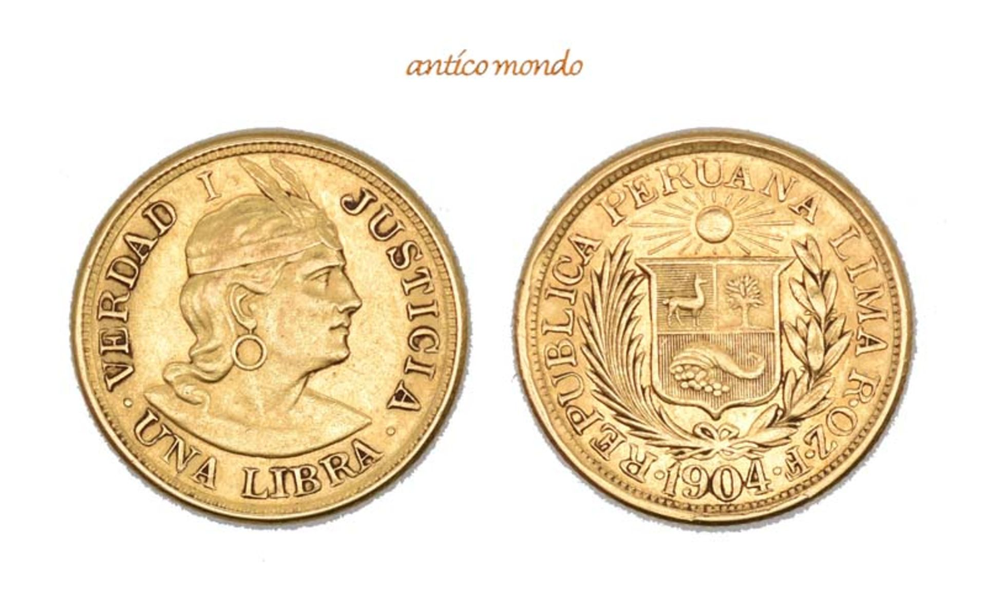 Peru, Republik, Libra, 1904, ehr schön-vorzüglich, 8,00 g- - -21.50 % buyer's premium on the
