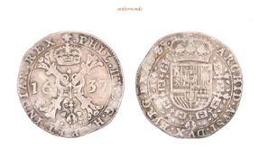 Belgien, Brabant, Philipp IV. von Spanien, 1621-1665, Patagon, 1637, sehr schön, 27,75 g- - -21.50 %