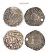 Dänemark, Christian IV., 1588-1648, 4 Skilling, 1645, gelocht (1x), sehr schön, 2 Stück- - -21.