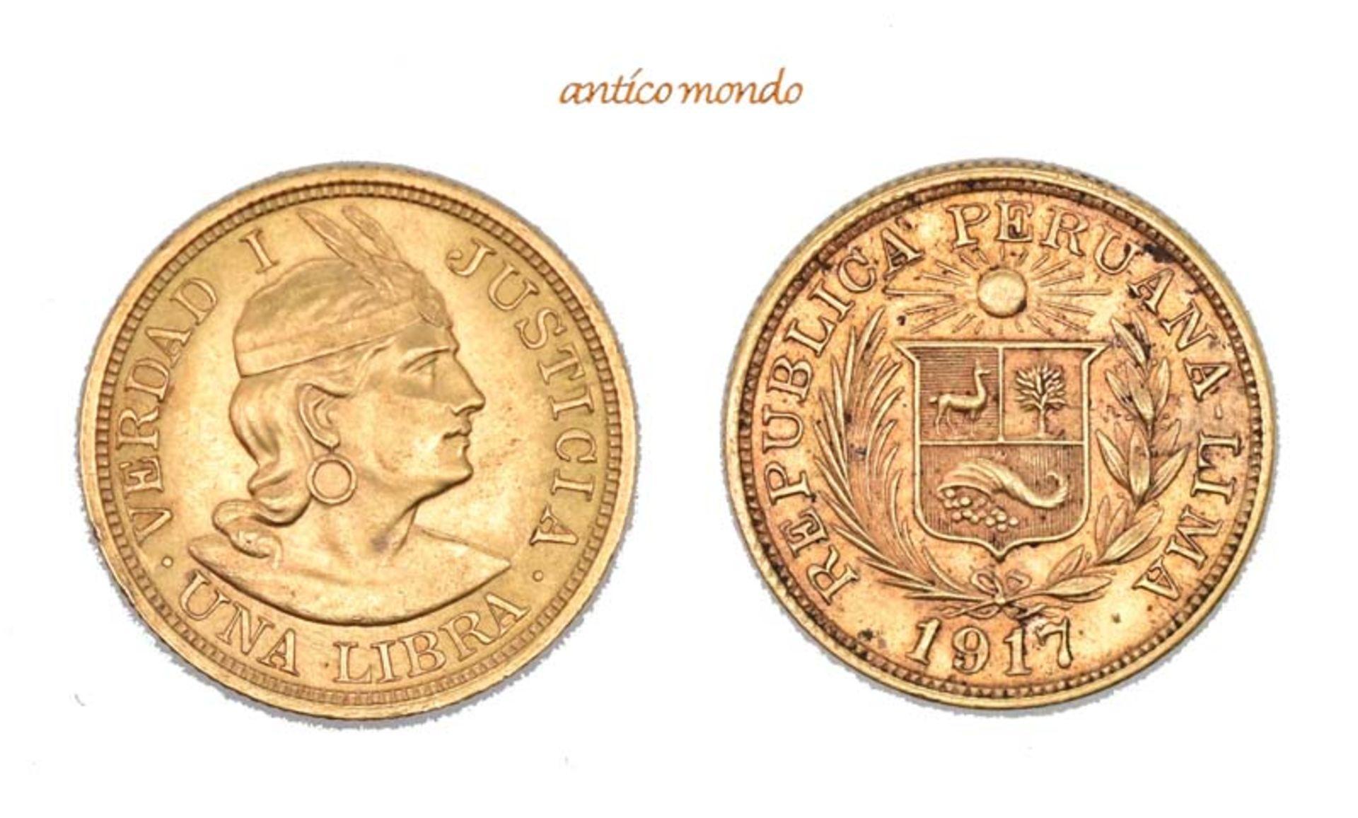 Peru, Republik, Libra, 1917, vorzüglich, 8,00 g- - -21.50 % buyer's premium on the hammer price19.00