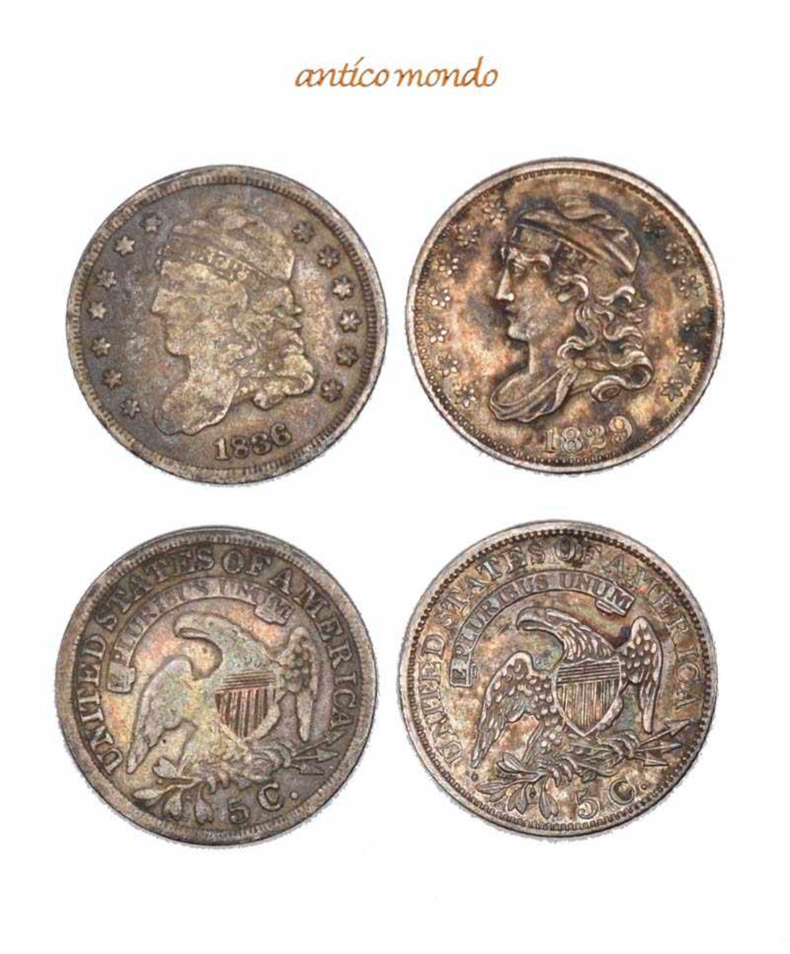 USA, 5 Cent, 1829, 1836, sehr schön + und fast sehr schön, 2 Stück- - -21.50 % buyer's premium on