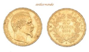 Frankreich, Napoleon III., 1848/1852-1870, 20 Francs, 1854, sehr schön-vorzüglich, 6,47 g- - -21.