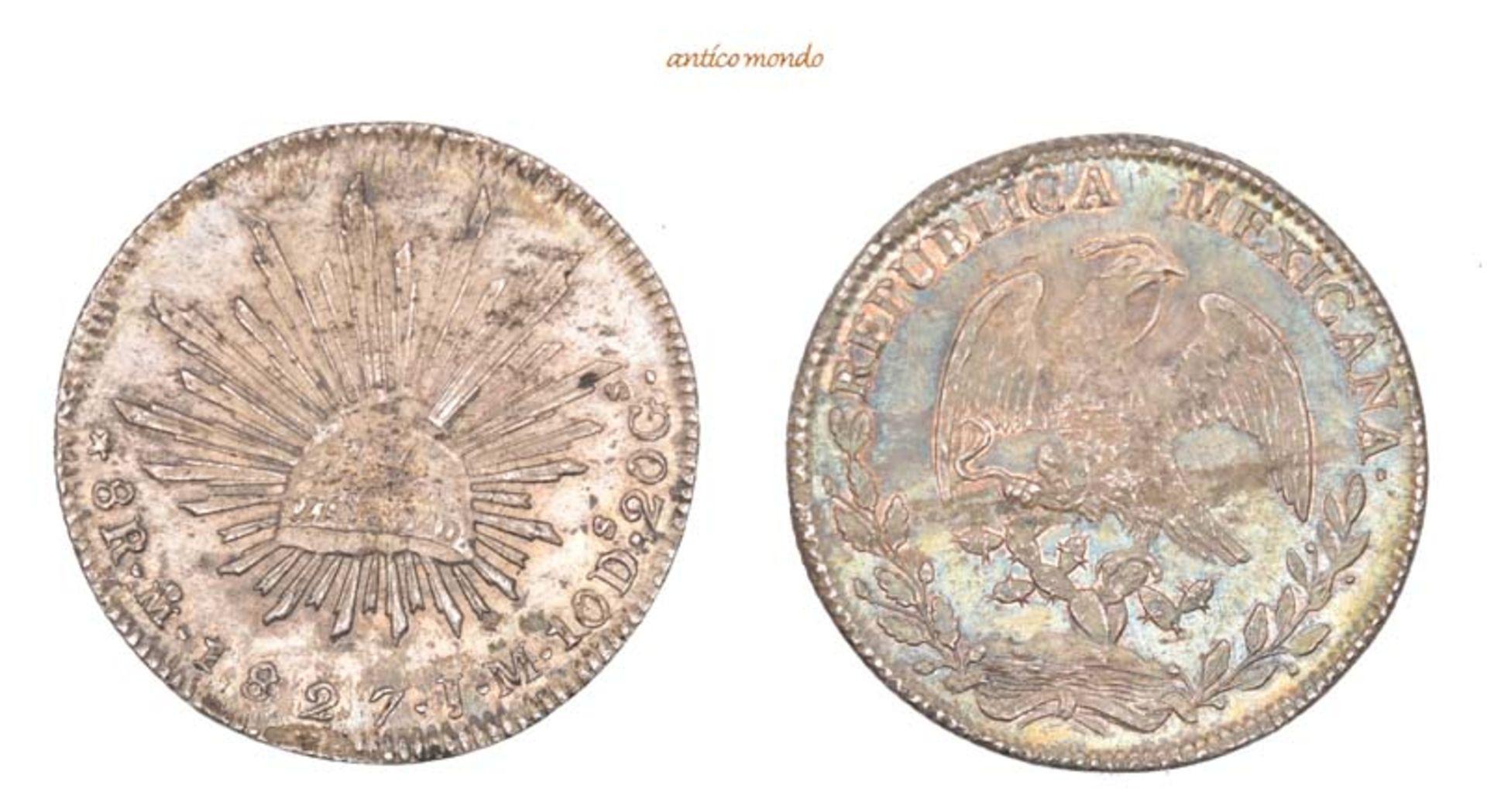 Mexiko, Republik, 8 Reales, 1827, hübsche Patina, winz. Schrötlingsfehler, vorzüglich, 26,89 g- - -