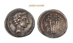 Römische Münzen, Augustus, 30 v.-14 n. Chr., AR-Drachme, um 27/20 v. Chr., gutes sehr schön, 3,56 g-