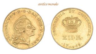 Dänemark, Frederik V., 1746-1766, Kurant-Dukat (12 Mark), 1758, vorzüglich, 3,12 g- - -21.50 %