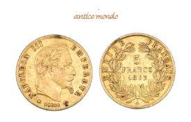 Frankreich, Napoleon III., 1848/1852-1870, 5 Francs, 1863, Kl. Randfehler, sehr schön, 1,62 g- - -