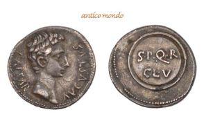 Römische Münzen, Augustus, 30 v.-14 n. Chr., AR-Denar, 19/18 v. Chr., winz. Kratzer, Graffito auf