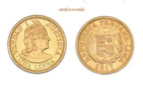 Peru, Republik, Libra, 1917, sehr schön-vorzüglich, 8,00 g- - -21.50 % buyer's premium on the hammer