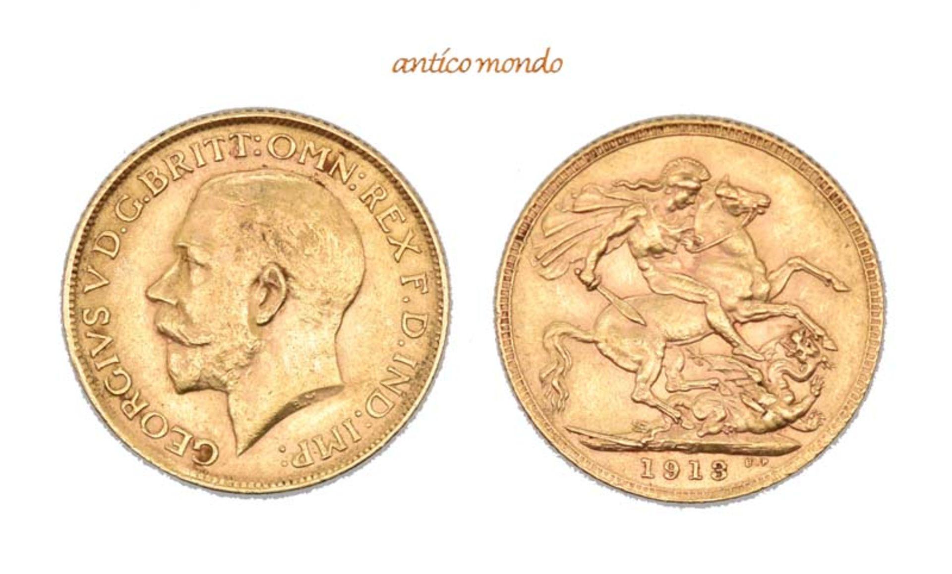 Australien, George V., 1910-1936, Sovereign, 1913, sehr schön, 8,00 g- - -21.50 % buyer's premium on