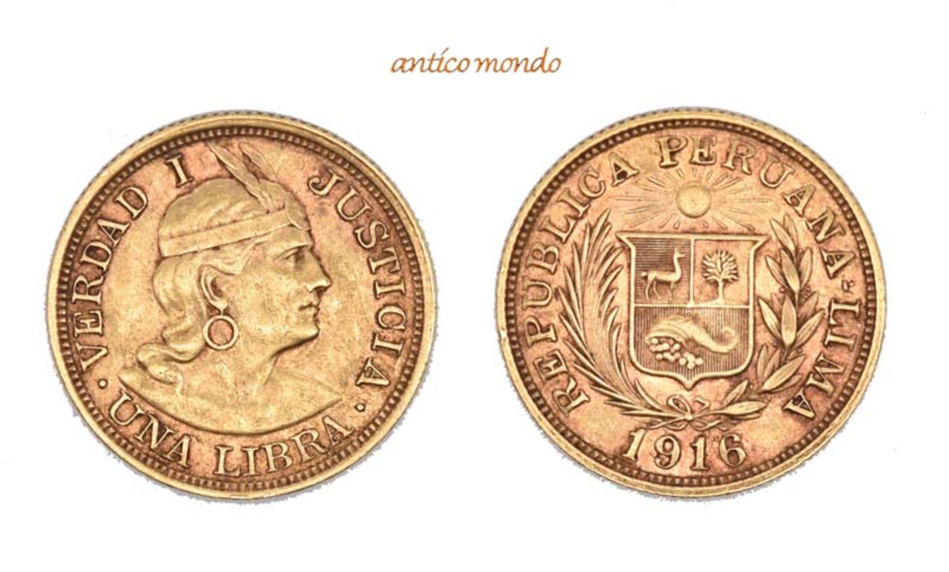 Peru, Republik, Libra, 1916, sehr schön-vorzüglich, 8,00 g- - -21.50 % buyer's premium on the hammer
