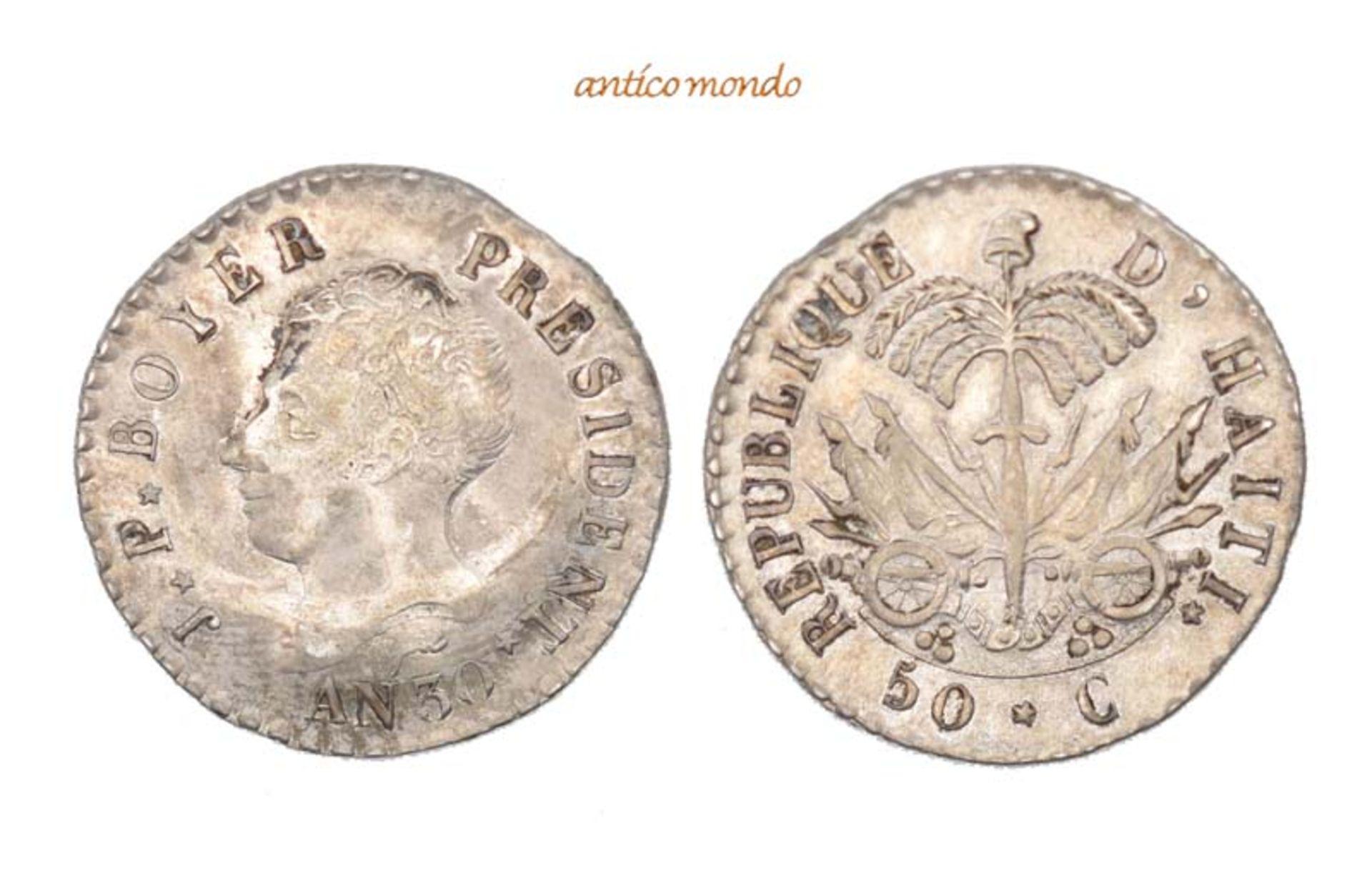 Haiti, Republik, 50 Centimes, An 30 (1833), sehr schön vorzüglich, 5,24 g- - -21.50 % buyer's