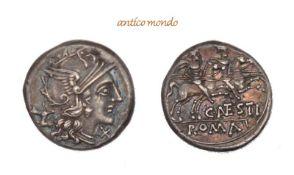 Römische Münzen, C. Antestius, AR-Denar 146 v. Chr., feine Tönung, gutes sehr schön, 3,98 g- - -21.