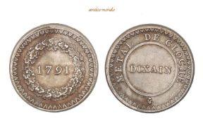 Frankreich, Bourbonen, Dixain aus Glockenmetall, 1791, prägebedingte Schrötlingsfehler im Rand,