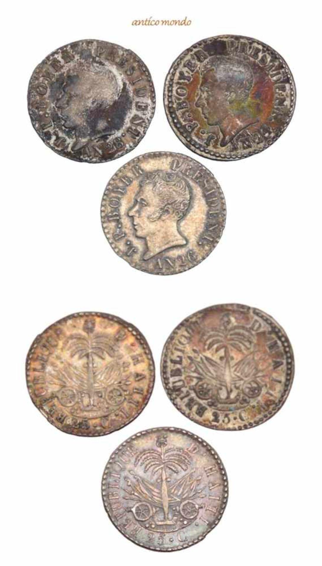 Haiti, Republik, 25 Centimes, 1827, 1829, 1831, Patina, fast vorzüglich-vorzüglich, 3 Stück- - -21.