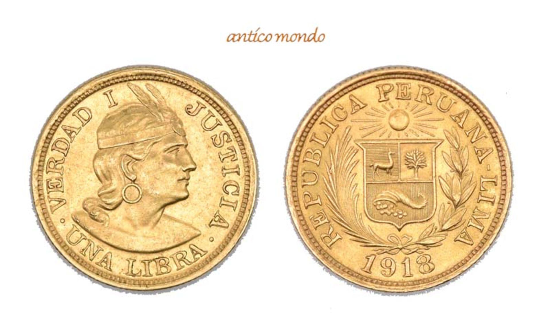 Peru, Republik, Libra, 1918, vorzüglich, 8,00 g- - -21.50 % buyer's premium on the hammer price19.00