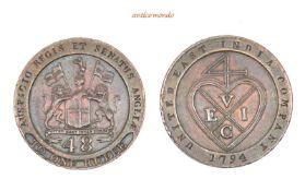 Indien, Ostindien Kompanie, unter der Präsidentschaft von Madras, 1/48 Rupee, 1794, hübsche