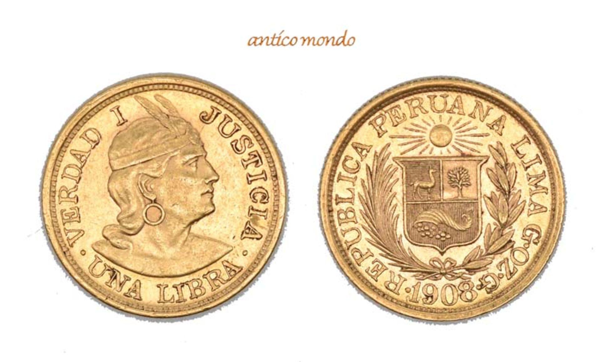 Peru, Republik, Libra, 1908, sehr schön-vorzüglich, 8,00 g- - -21.50 % buyer's premium on the hammer