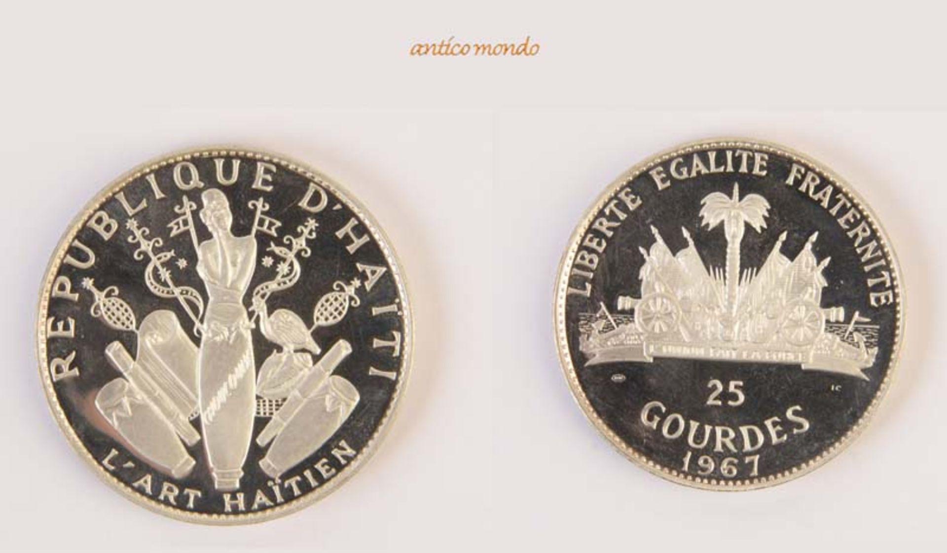 Haiti, 25 Gourdes, 1967, In Originaletui, winz. Randfehler, polierte Platte, berührt, 117,5 g- - -