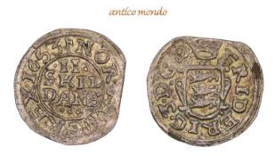 Dänemark, Frederik III., 1648-1670, 2 Skilling, 1653, Kl. Zainende, fast Stempelglanz, 1,18 g- - -