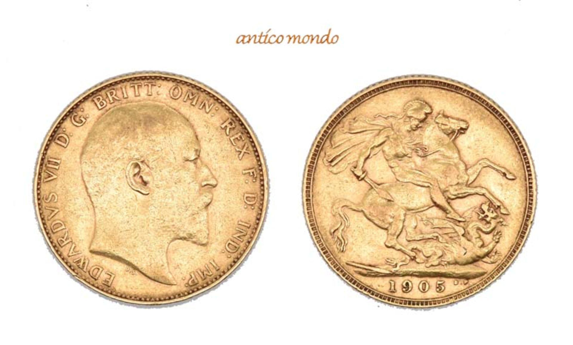 Australien, Edward VII., 1901-1910, Sovereign, 1905, sehr schön, 8,00 g- - -21.50 % buyer's