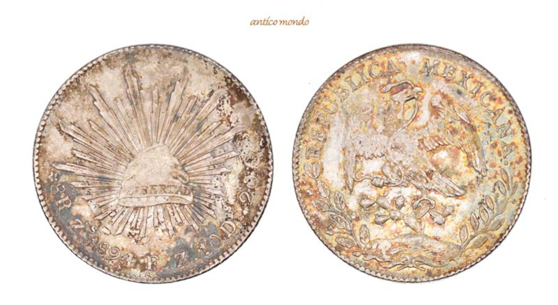 Mexiko, Republik, 8 Reales, 1894, hübsche Patina, vorzüglich, 27,06 g- - -21.50 % buyer's premium on