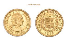 Peru, Republik, Libra, 1918, sehr schön-vorzüglich, 8,00 g- - -21.50 % buyer's premium on the hammer
