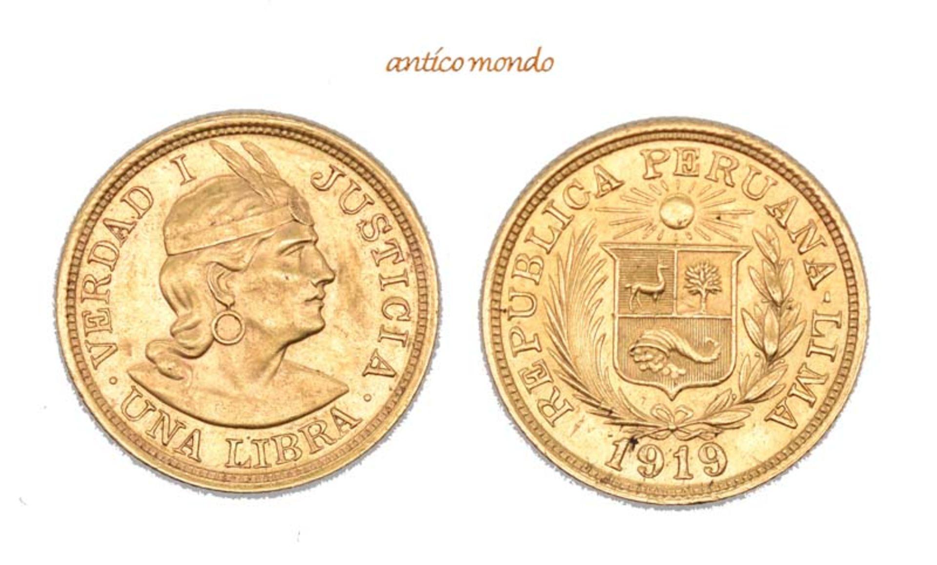 Peru, Republik, Libra, 1919, sehr schön-vorzüglich, 8,00 g- - -21.50 % buyer's premium on the hammer