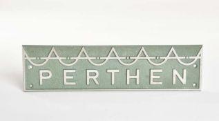 Perthen Herstellerzeichen, 30x7 cm, Metall, Z 1-2
