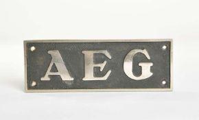 AEG Herstellerzeichen, 21x7 cm, Messing verchromt, Z 2-