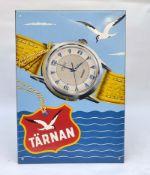 """Emailleschild """"Tärnan Uhren"""", Swiss made, 30er Jahre, 48x68 cm, Z 0"""