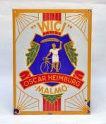 """Oscar Heimburg, Emailleschild """"WICI Fahrräder"""" 20er Jahre, 48x65 cm, 4 Abplatzer am Rand, sonst sehr"""