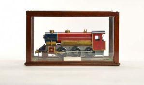 Express Lokomotive in Glasvitrine, 31 cm, Blech, wohl Eigenbau, Z 1-
