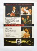 """Filmplakat """"Goldfinger"""", 60x84 cm, Knickspuren, Nadellöcher, kleiner Ausriss oben links, 1"""