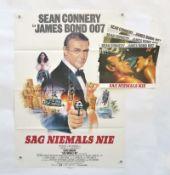 """Filmplakat """"Sag niemals nie"""" + 20 Anhangfotos + Werbedia, 64x80 cm, Knickfalten, meist sehr guter"""