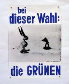 """Wahlplakat """"Die Grünen"""" 1980 J. Beuys, Fehldruck in blau !, 59x84 cm, Z 1"""
