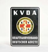 """Blechschild """"KVDA Kraftfahrverband deutscher Ärzte"""", 30x40 cm, Z 2+"""