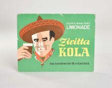 """Pappschild """"Ziritta Kola Koffeinhaltige Limonade"""", 32x24,5 cm, Z 2-"""