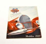 Originalprospekt Bugatti 57, Modeles 1937, min. Altersspuren an den Rändern
