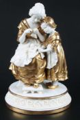 Scheibe Alsbach Figurengruppe um 1900, Mutter mit Tochter, group of figures mother with her