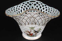 Herend Rothschild Schale bowl,Porzellan, Ungarn 20. Jahrhundert, Dekor Rothschild, Durchbrucharbeit,