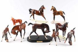 Konvolut Porzellanpferde, Goebel, porcelain horses,10 Porzellanpferde, polychrom bemalt, H 14 cm,