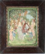Große Jugendstil Majolika Bildplatte - Hochzeitspaar, large art nouveau majolica plate - wedding