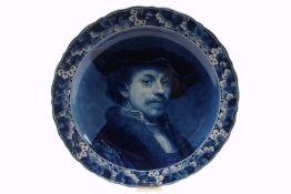 De Porceleyne Fles, großer Wandteller mit Rembrandt van Rijn, plateKeramik, Niederlande, Portrait