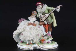 Aelteste Volkstedt - große Figurengruppe musizierendes Paar, oversized group of figures - couple