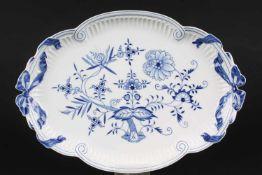 Meissen großes Schleifentablett Zwiebelmuster, big tray with ribbon,Porzellan, Dekor